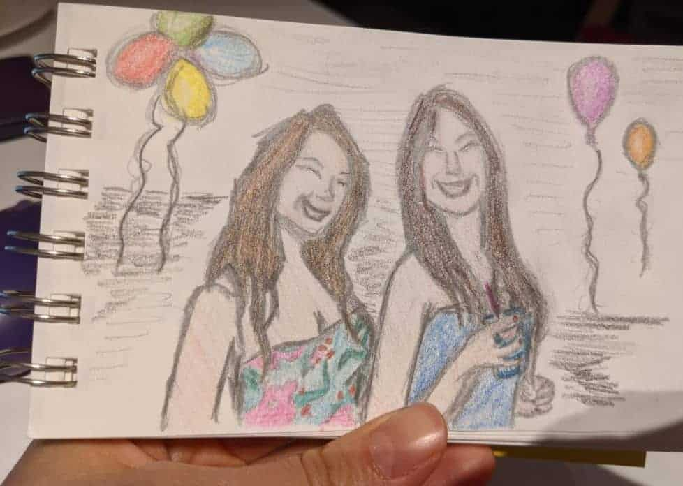 I started drawing again in October 2020.Thais Freitas self-portrait with my friend