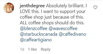 Customer tweet praising Harken Coffee for its initiative to help women